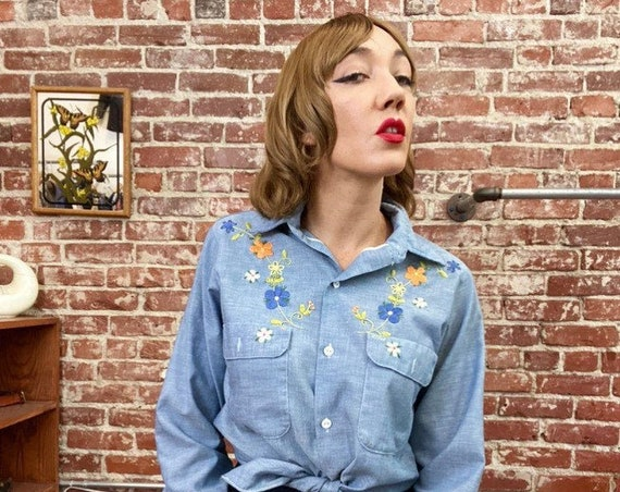 70s Embroidered Chambray Button Down Shirt