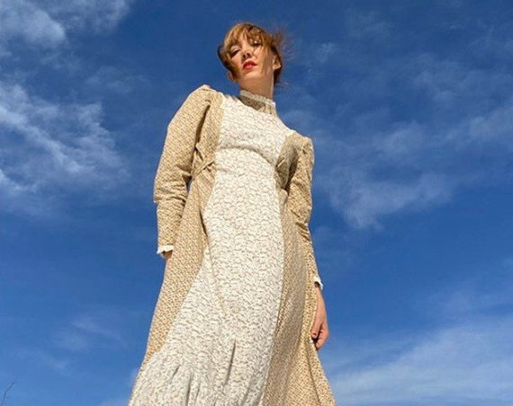 70s Cotton Calico Victorian Prairie Dress with Lace Inlays