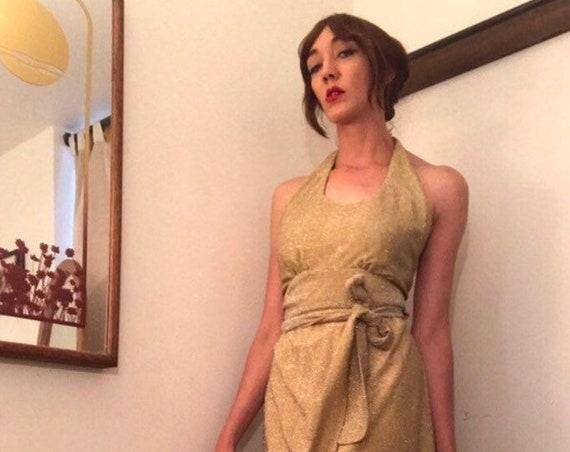 70s Gold Lamé  Metallic Halter Wrap Gown