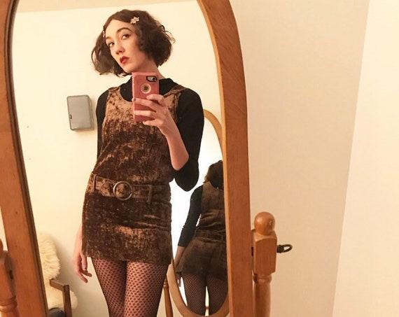 70s Crushed Velvet Belted Hoop Ring Mod Mini Jumper Dress Size Small