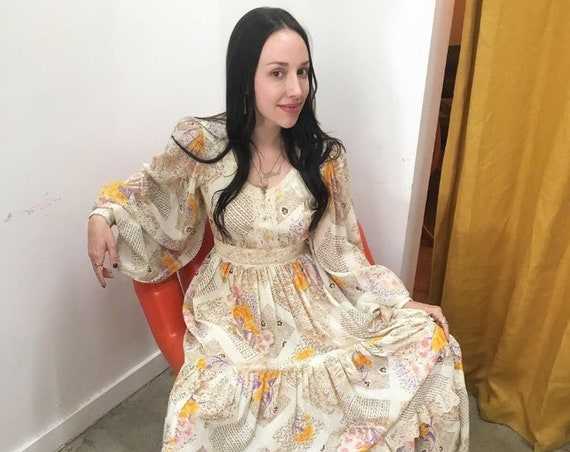 70s Giant Poet Sleeve Victorian Cotton Gown Size Small Vintage Seventies 1970s
