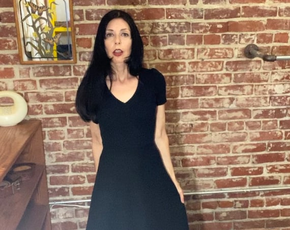 Made in Italy 70s Black Short Sleeve Knit Gown
