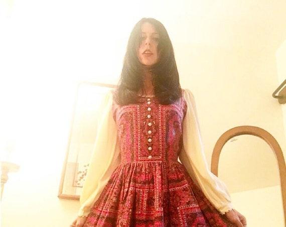 70s Rare Cotton Mandala Psychedelic Poet Sleeve Mini Dress Size Medium