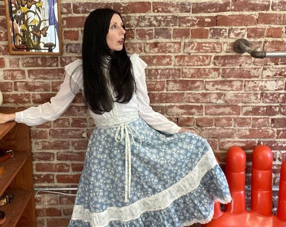 "70s Cotton Prairie Skirt 29"" Waist"