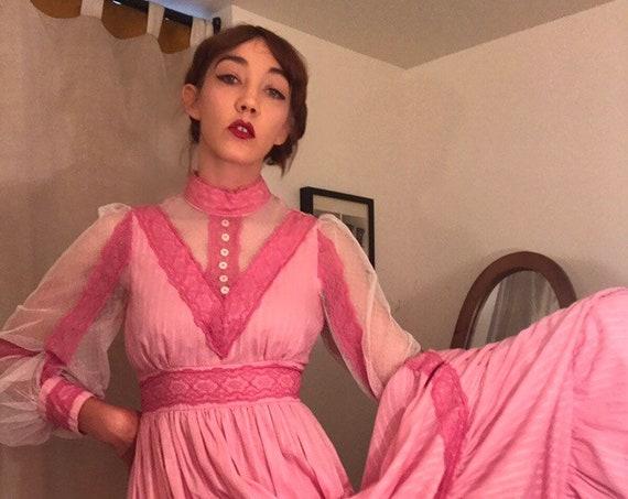 70s Gunne Sax Pink Cotton Gown Vintage Size 14