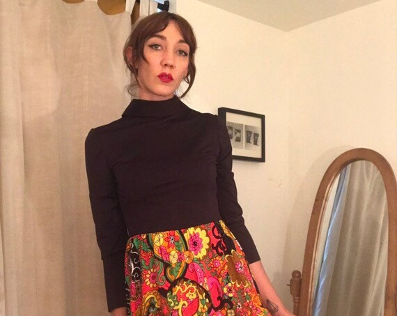 70s Mod Psychedelic Mini Dress Size Medium