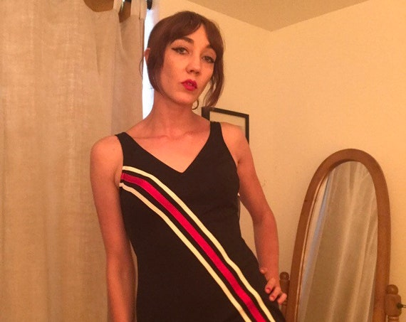60s Mod Deadstock Striped Black One Piece Swimsuit