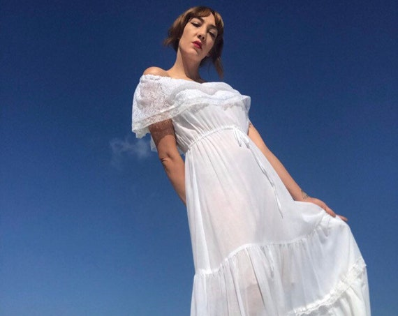 70s Young Edwardian Off The Shouler White Cotton Gown