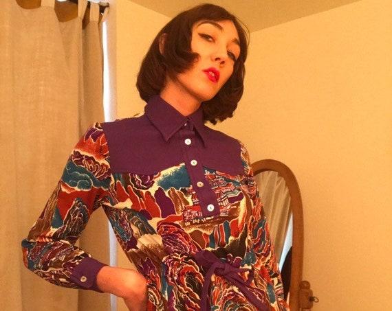 70s Psychedelic Mini Dress Size Medium Vintage