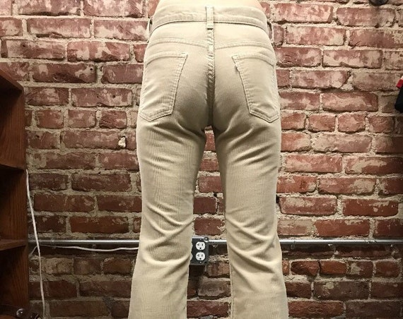 """70s Levi's Corduroy Flared Jeans Bell Bottoms 27"""" Waist by 33"""" Inseam Vintage Seventies 1970s Student Fit Petite"""