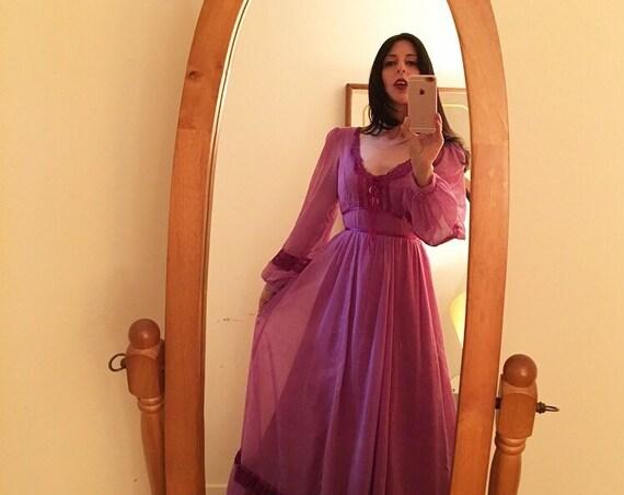 70s Gunne Sax Purple Gauze Cotton Poet Sleeve Victorian Gown Size 7 Vintage Seventies 1970s Size Small