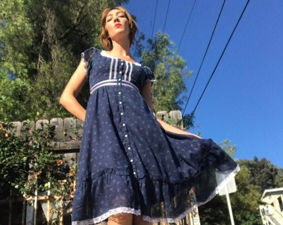 70s Gunne Sax Cotton Prairie Dress with Butterfly Sleeves Size 11