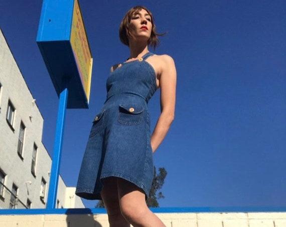 70s LandLubber Denim Jumper Mini Dress