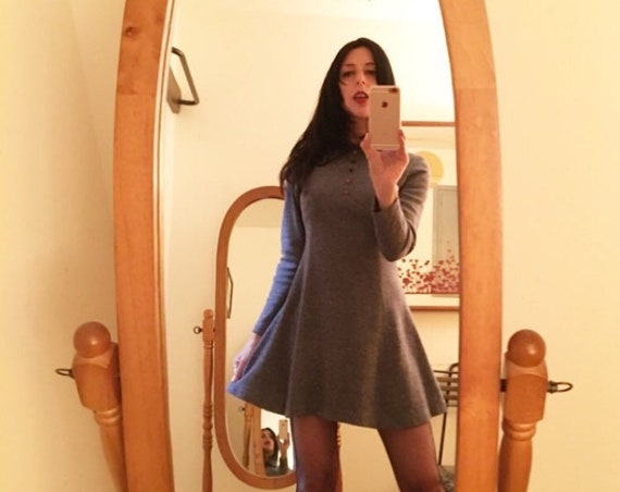 70s Mod Acrylic Cotton Blend Flecked Long Sleeve Mini Dress With Exagerrated Collar