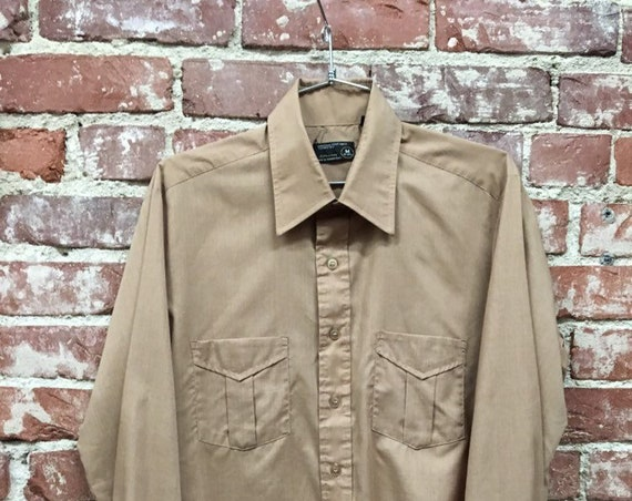 70s Men's Mocha Button Up Shirt Size Medium Vintage Seventies 1970s