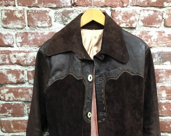 70s Men's Rare Chocolate Suede Leather Trimmed Hand Stitched Jacket