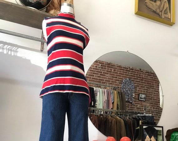 70s Mod Stripef Sleeveless Mock Turtleneck