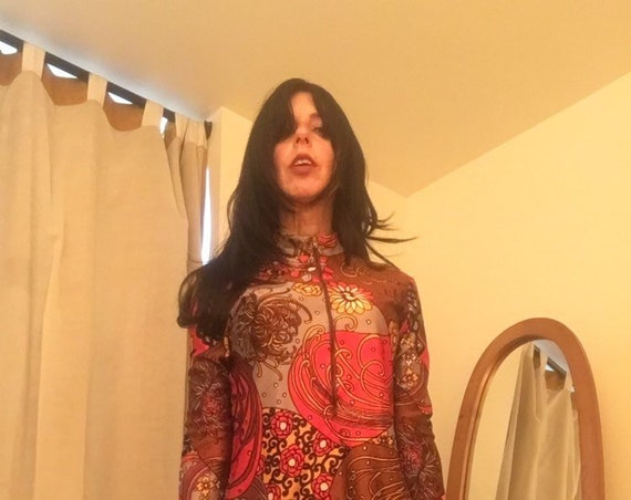 70s Rare Psychedelic Mock Neck Nylon Blouse with Zipper Collar