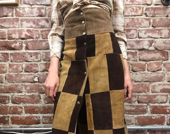 70s Suede Patchwork Statement Ultra High Waist Long Maxi Snap Skirt