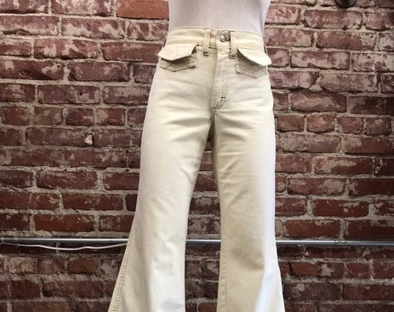 "70s Ivory Washington Rappers Cotton Flares 28"" waist"