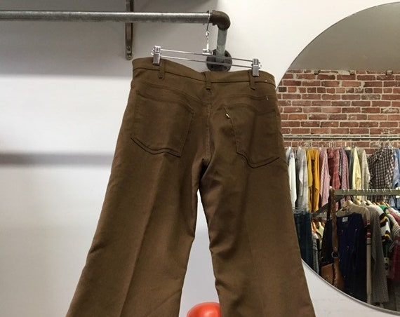 "70s Men's Levi's Cotton Weave Sta Pres Flares Slacks 32"" Waist by 29"" inseam"