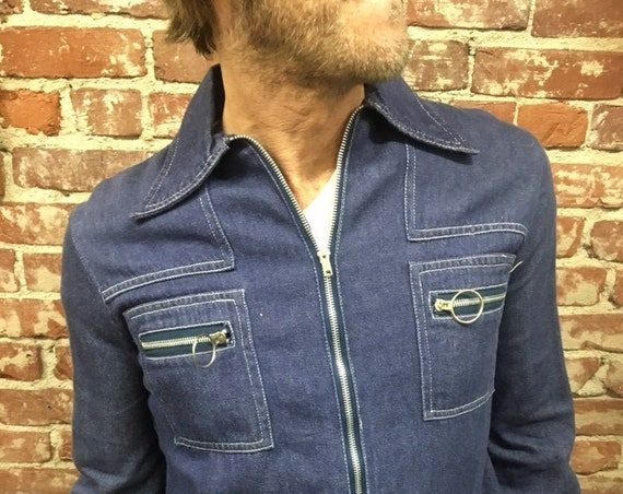 "70s Denim Hoop Ring Shirt Cut Jacket Size Medium 39"" Chest"