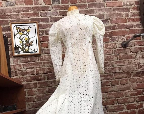 70s Cotton Eyelet White Victorian Gown