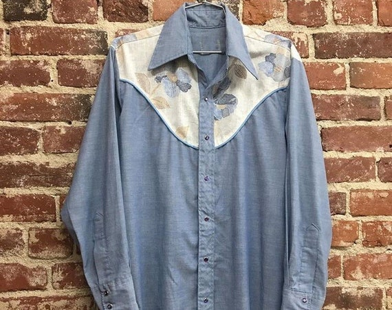 70s Men's Chambray Western Shirt Vintage Seventies 1970s Size Medium