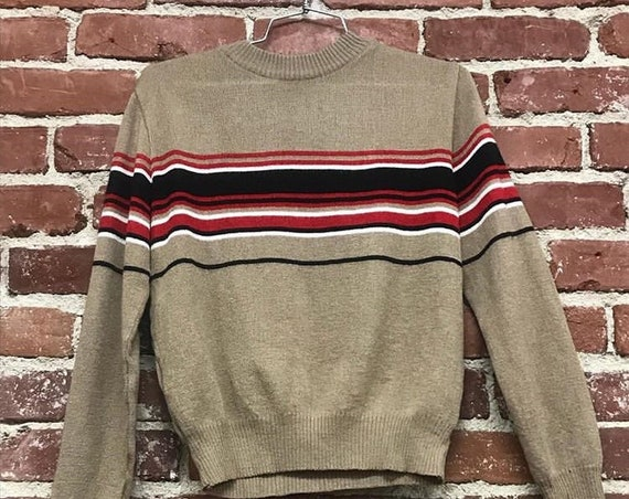 70s Men's Striped Sweater Size Small Vintage Seventies 1970s