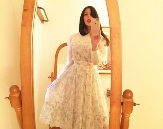 70s Victorian Cotton Dress Size Extra Small/Petite