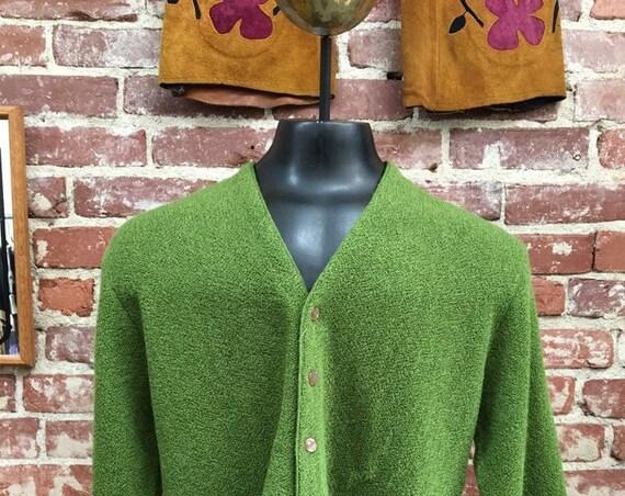 60s Men's Avocado Mohair and Wool Cardigan by Dick Van Dyke Size Large Vintage Sixties 1960s