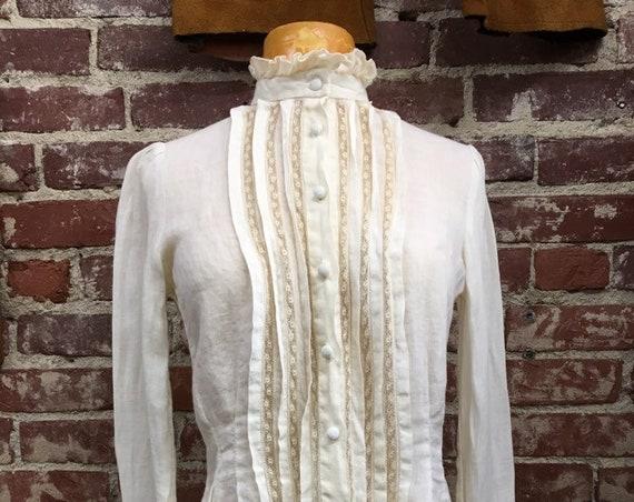 70s Sax Fifth Avenue Linen Ivory Victorian Blouse Vintage