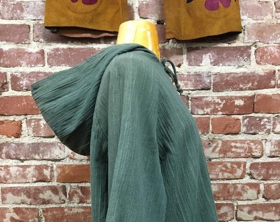 70s Raw Cotton Bohemian Hooded Blouse Size Large Vintage Boho