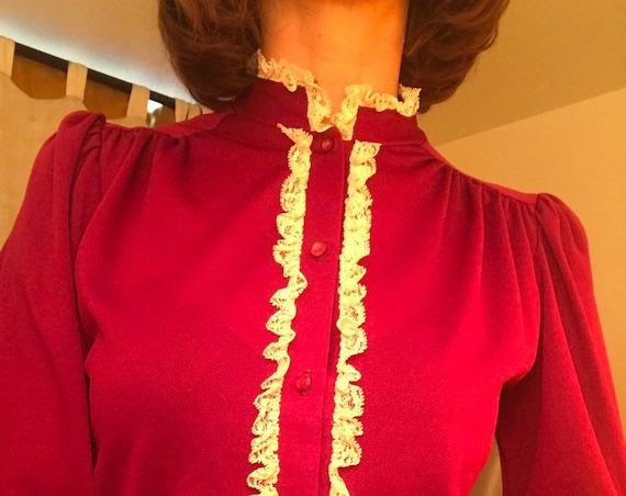 On Layaway. Do not buy. 70s Victorian Ruffle Blouse Size Medium