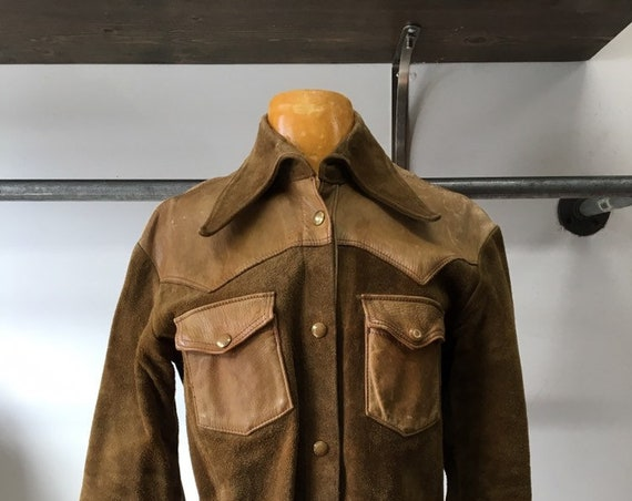 70s Suede and Leather Shirt Cut Jacket Rare Vintage Seventies 1970s