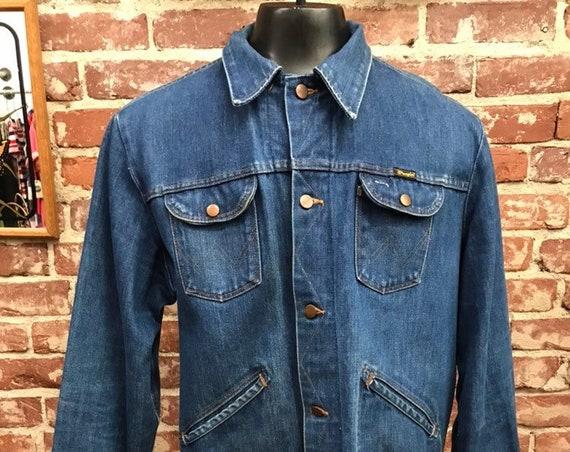 Mens 70s Denim Wrangler Jean Jacket Size 46 Long Vintage Seventies 1970s