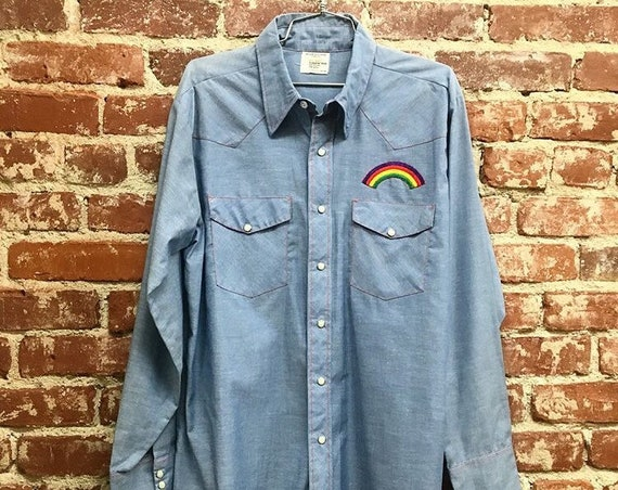 70s Chambray Snap Button Western Shirt with Rainbow Iron on Patch Vintage