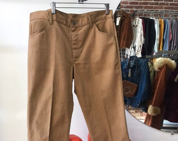 "70s Men's Lee Riders Caramel Brushed Denim Jeans 36"" Waist by 29"" Inseam"
