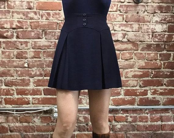 "70s Mod Mini Skirt A Line Navy Blue Vintage 25"" Waist"