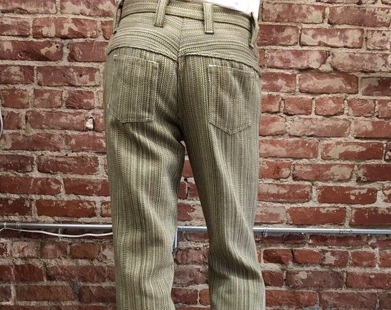 "Mens 70s Mod Oliven Green Striped Cotton Jeans 31"" waist by 31"" inseam"