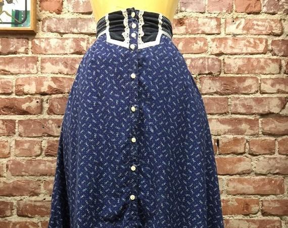 """70s Gunne Sax Blue Prairie Skirt Gunnies Size 9 Vintage Seventies 1970s 27"""" Waist"""