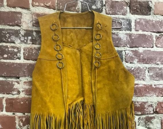 70s Hoop Ring Suede Fringe Vest Men's Medium Women's Large Vintage