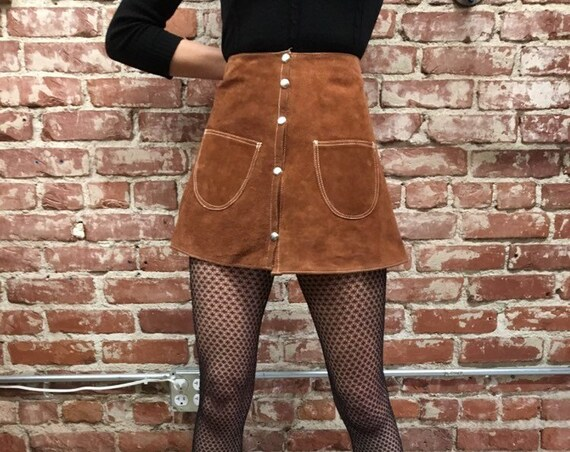 "70s Suede Snap Button Mini Skirt SIze Medium 28"" Waist"