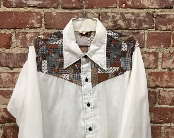 70s Men's Patcwork Button Down Shirt Size Medium