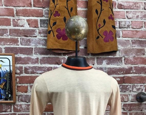 70s Men's Long Sleeve Tee Size Medium Vintage Seventies 1970s
