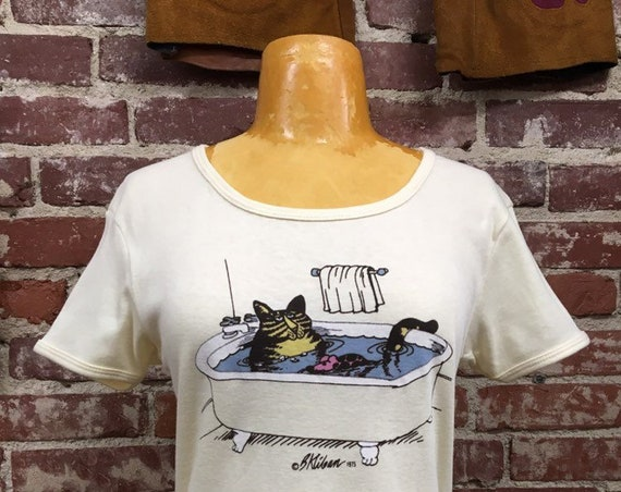 70s B Kilban Cat Tee Size Large Copyright 1975 Vintage Seventies 1970s