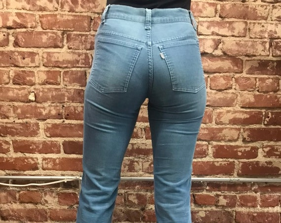 70s Levi's Aqua Corduroy Flared Jeans