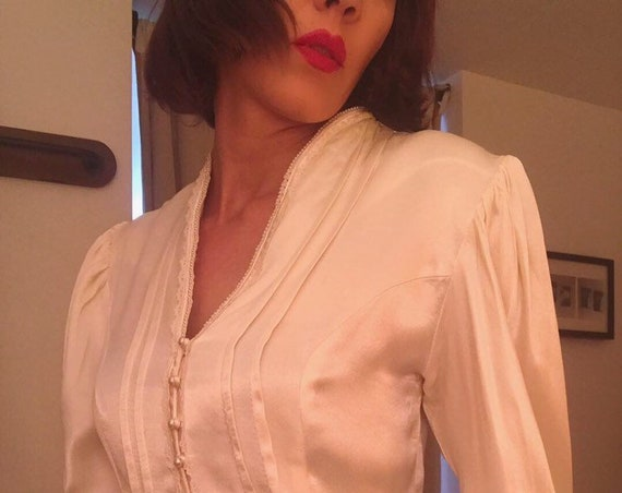 70s Gunne Sax Satin Blouse with Plunging Neckline and Puff Sleeves. Size medium.