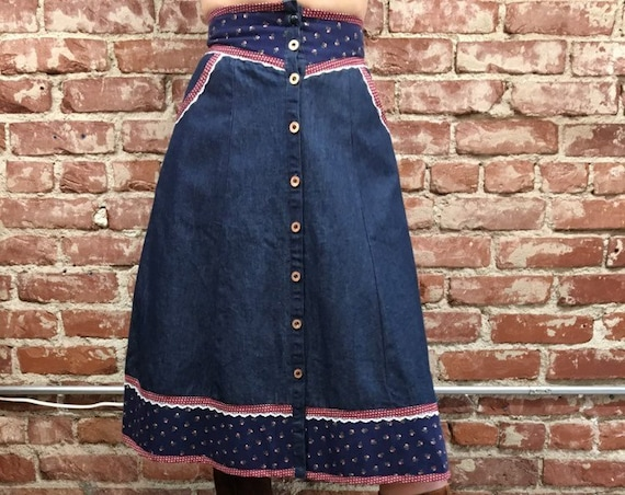 "70s Rare Gunnies Gunne Sax Denim Skirt 25"" waist"