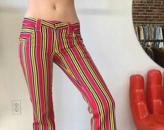 "60s Vintage Sixties 1960s Dead Stock Rare Striped Mod Denim Jeans 30"" low waist NOS hip huggers"